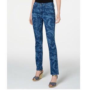 Charter Club Straight Leg Paisley-Printed Jeans 12